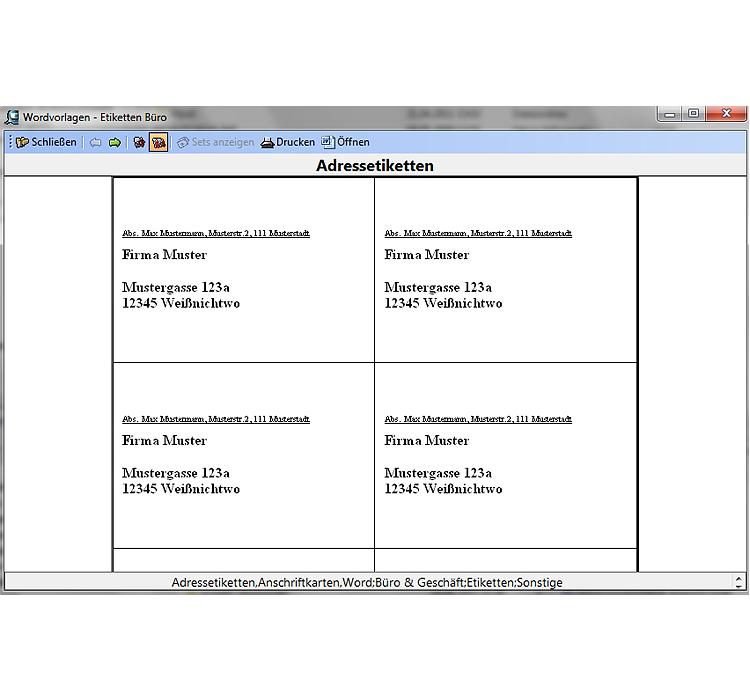 Finanzen & Büro Wordvorlagen - Etiketten Büro