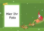 Weihnachtsfotokarte mit Weihnachtsmann,Weihnachtsstern und Rentier, grün, A4 quer