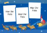 Weihnachtsfotokarte mit Weihnachtsmann,Weihnachtsstern und Rentierschlitten, blau, A4 quer