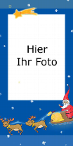 Weihnachtsfotokarte mit Weihnachtsmann,Weihnachtsstern und Rentier, blau, DinLang hoch