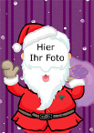 Weihnachtsfotokarte mit Weihnachtsmann, Violett, A4 hoch